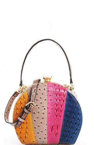 Ostrich Colorblock Multi Stripe Satchel Bag in Stone