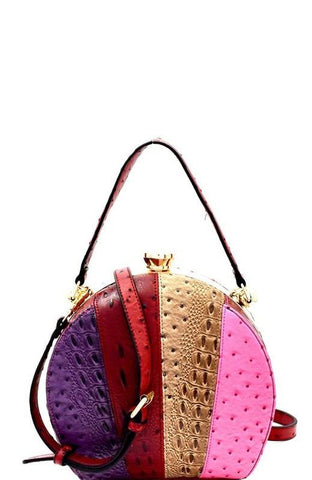 Ostrich Colorblock Multi Stripe Satchel Bag in Red