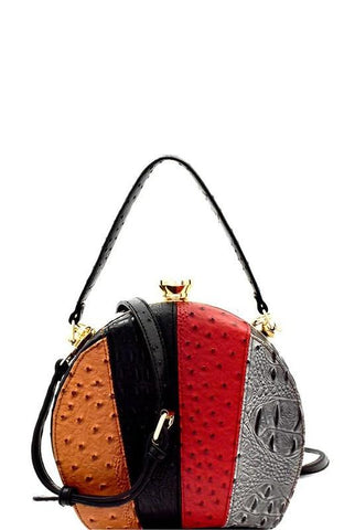 Ostrich Colorblock Multi Stripe Satchel Bag in Black