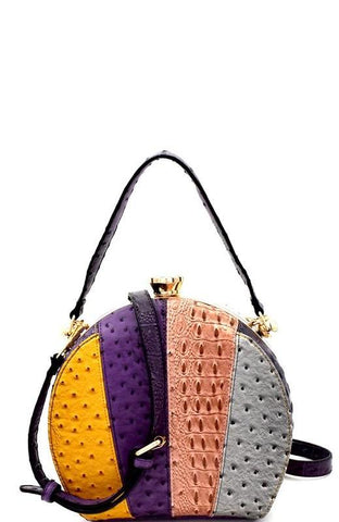 Ostrich Colorblock Multi Stripe Satchel Bag in Purple