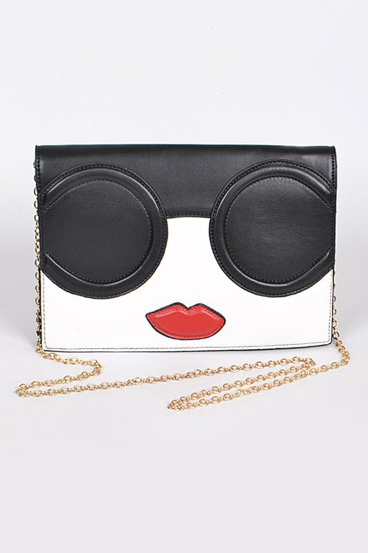 Sunglasses Face Large Clutch Handbag