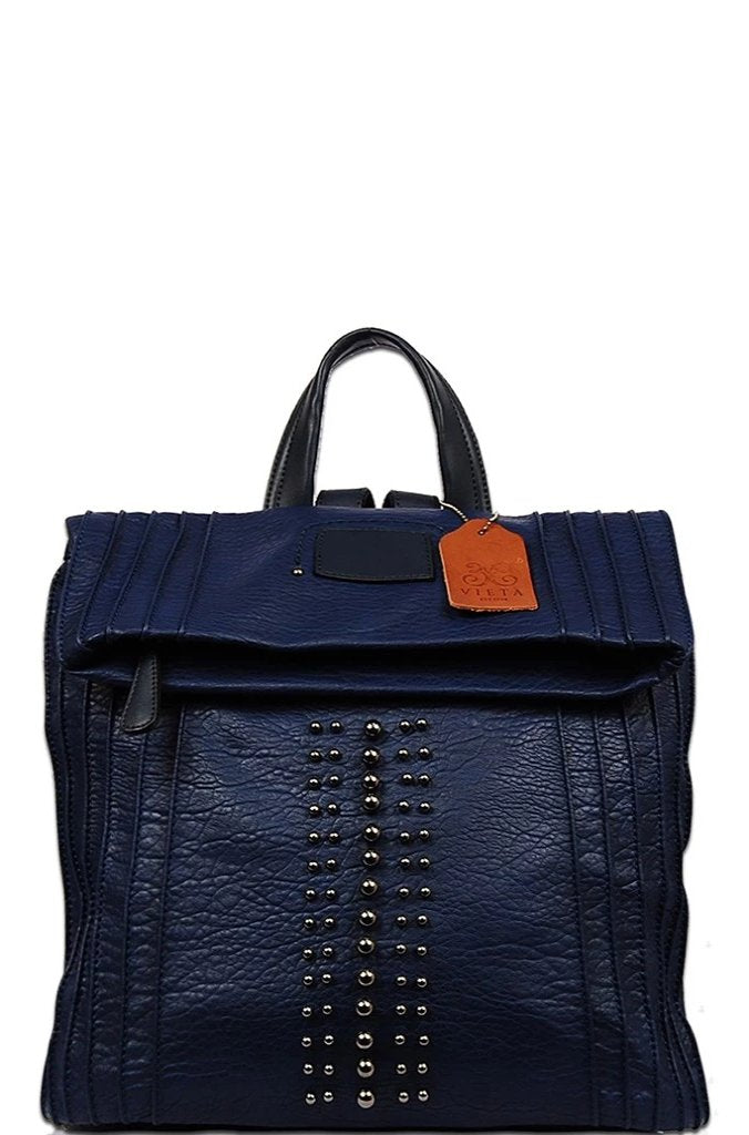 Navy Studded Vegan Backpack