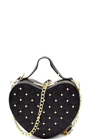 Black Heart Studded Handbag