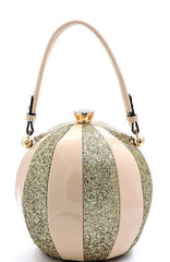 Blush and Gold Glittery and Glossy Ball Shaped Handbag