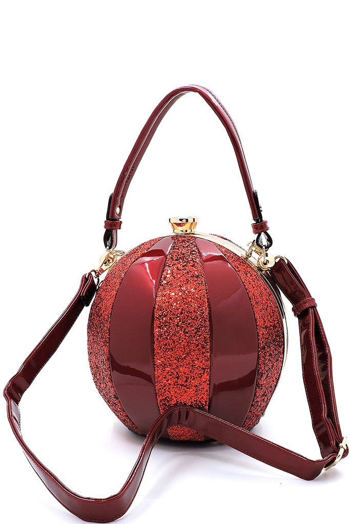 Burgundy Glittery and Glossy Ball Shaped Handbag