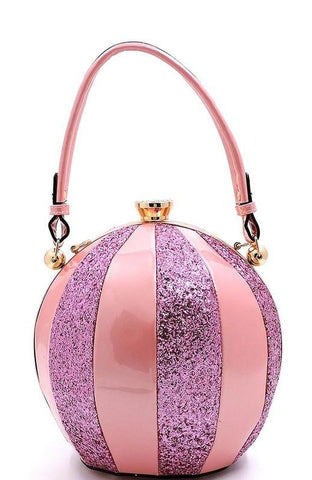 Pink Glittery and Glossy Ball Shaped Handbag