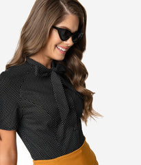 Chita Blouse in Black & White Pin Dot