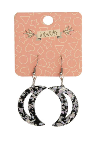 Halographic Silver Crescent Moon Glitter Earrings by Erstwilder