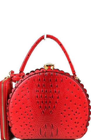 Scalloped Satchel Handbag in Red Ostrich