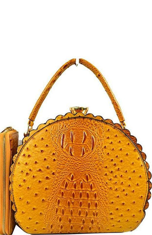 Scalloped Satchel Handbag in Mustard Ostrich