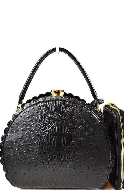 Scalloped Satchel Handbag in Black Ostrich