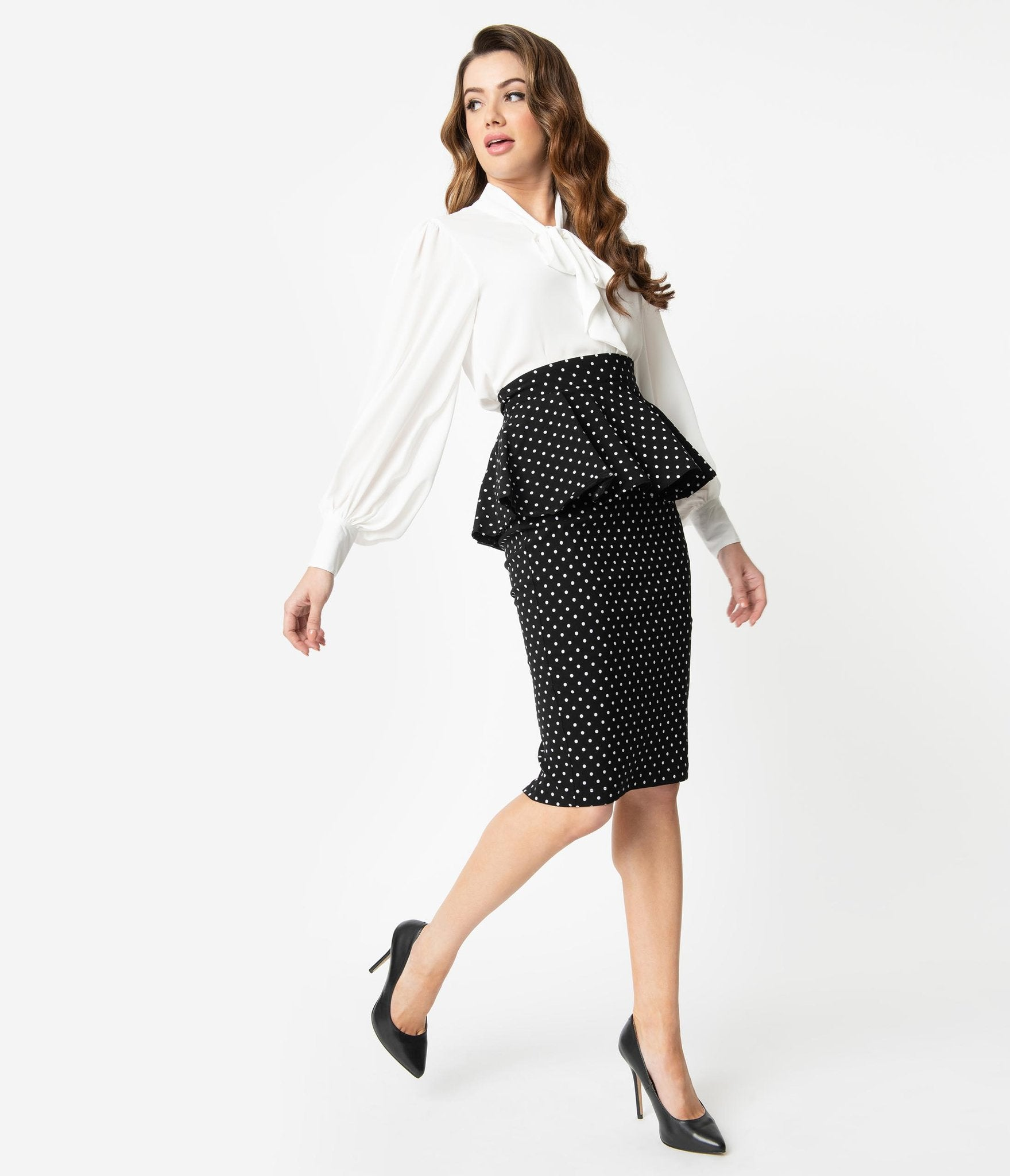 Black & White Pin Dot Peplum Pencil Skirt by Unique Vintage