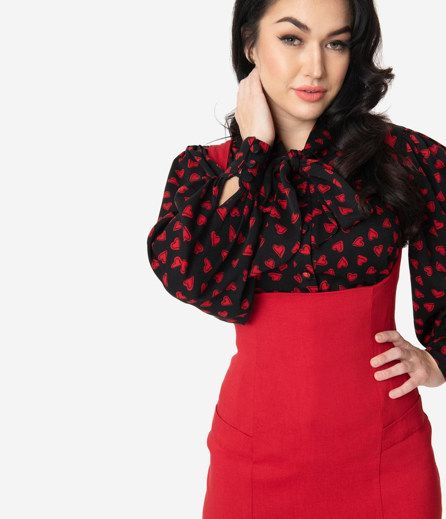 Black & Red Heart Print Gwen Blouse by Unique Vintage