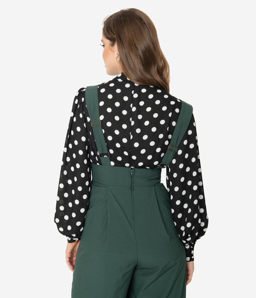 Black & White Polka Dot Tie-Neck Gwen Blouse
