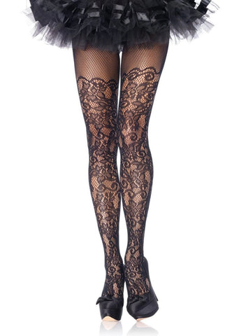 Floral Vine Net Tights in Multiple Sizes