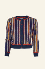 Navy Jacquard Feather Stripe Vera Cardigan by Palava