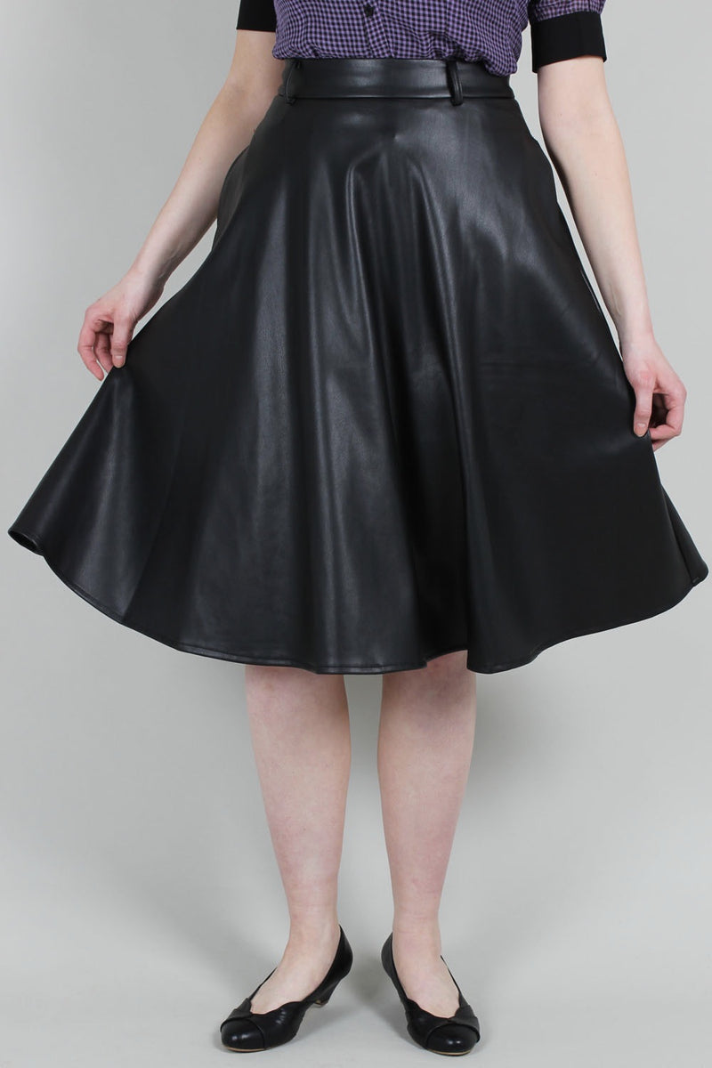 Bushira Faux Leather Circle Skirt by Voodoo Vixen