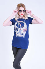 Navy Rosie T-Shirt Top by Blue Platypus