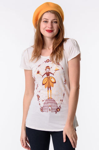 Beekeeper in Cream Tulip T-Shirt Top by Blue Platypus