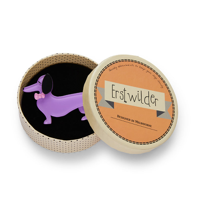 Spiffy the Sausage Dog Brooch by Erstwilder