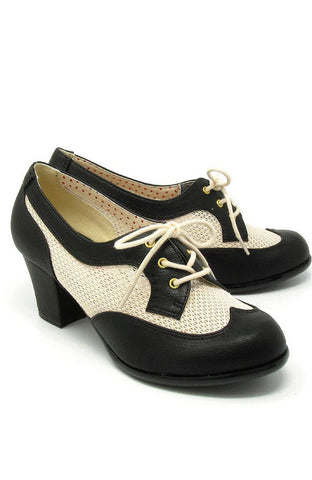 Renna Black Mesh Heeled Oxfords by B.A.I.T.