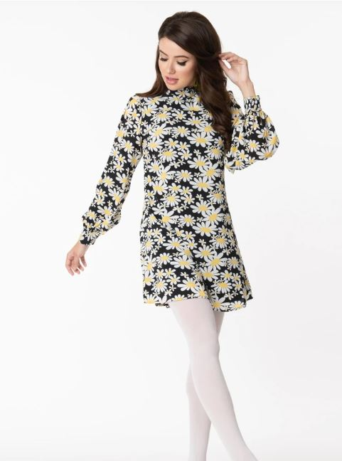 Daisy Print Shift Dress with Balloon Sleeves by Smak Parlour