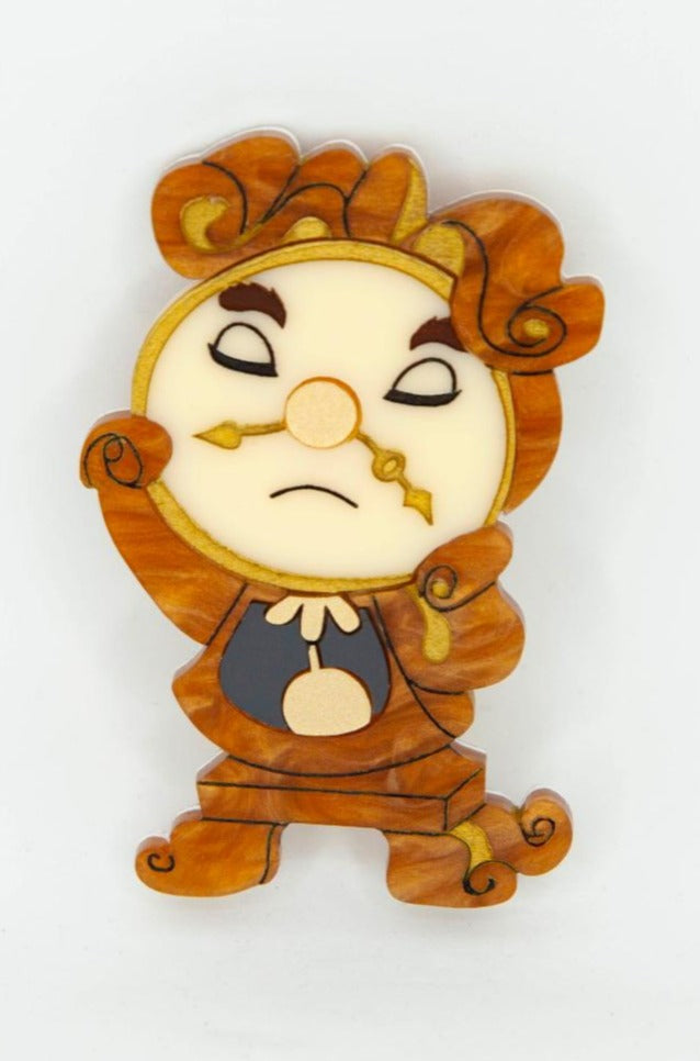 Cogsworth Clock Brooch of Beauty and the Beast by Daisy Jean Florals