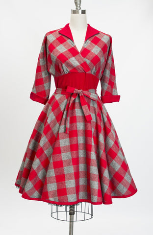 Kimmie Red Flannel Check Dress by Heart of Haute