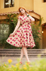 Emma Swing Dress in Creme Floral by Vintage Diva