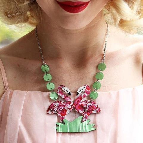 Erstwilder Flamboyant Flamingo Pair Necklace