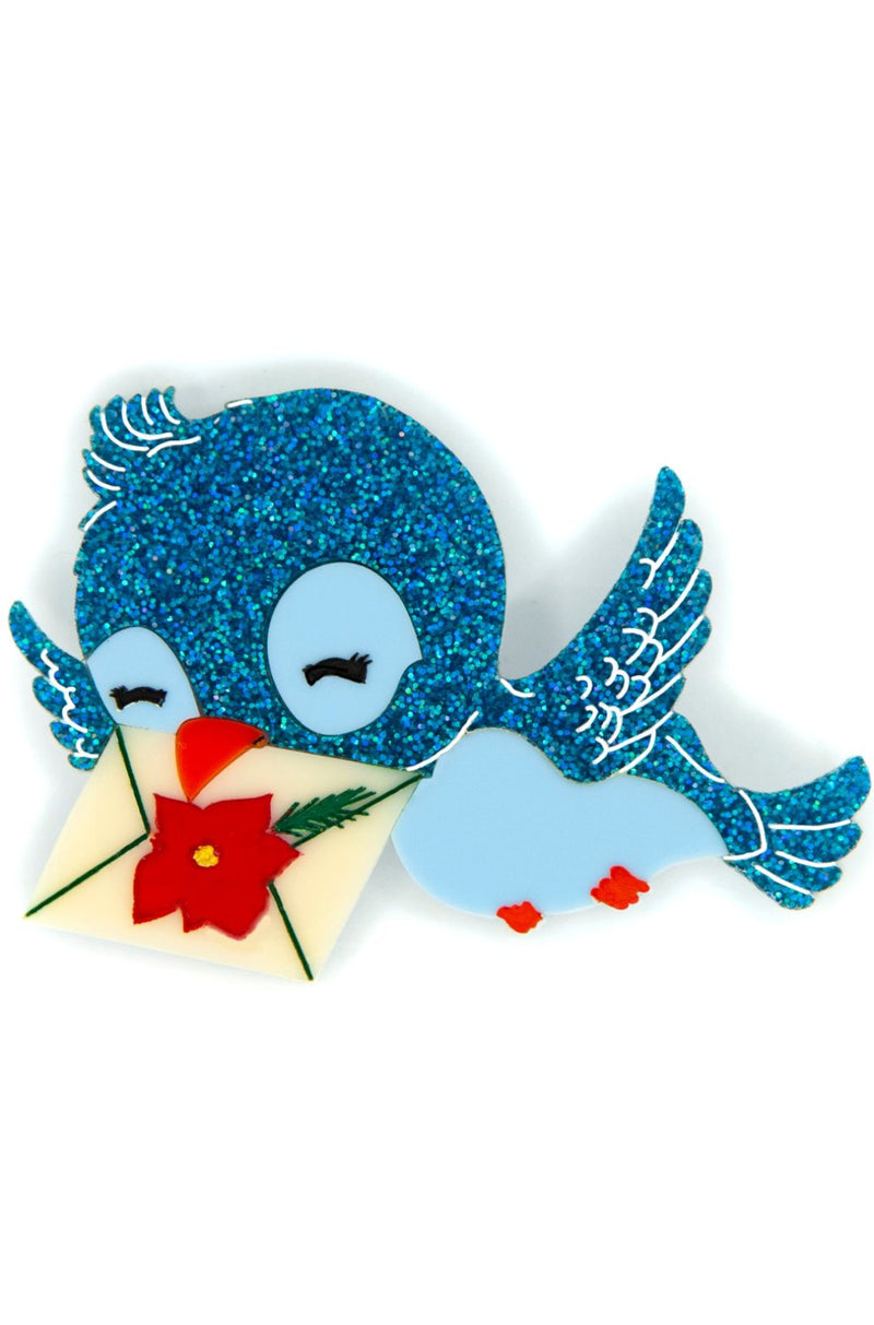 Grace the Christmas Bluebird Brooch by Daisy Jean