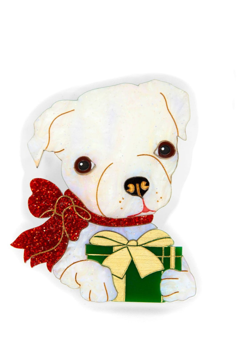 Holly the Christmas Puppy Brooch by Daisy Jean