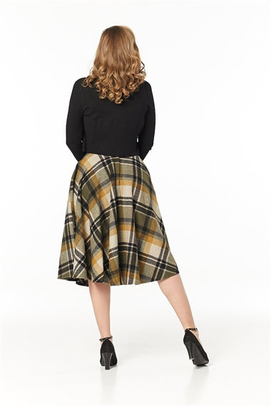 Olive Check Wool Sophie Circle Skirt by Timeless London