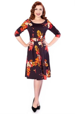 Jiya Dress in Black & Red Floral by Sheen Clothing