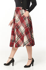 Cherry Check Wool Sophie Circle Skirt by Timeless London