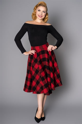 Sophie 50s Wool Circle Skirt in Red & Black Check by Sheen