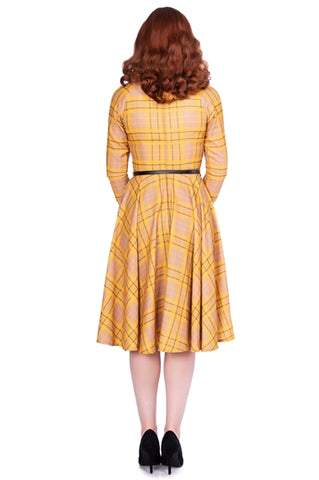 Kacee Swing Dress in Mustard Plaid by Sheen Clothing