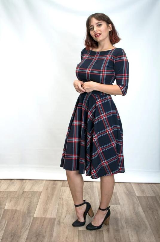 Josefina Dress in Navy Plaid by Heart of Haute