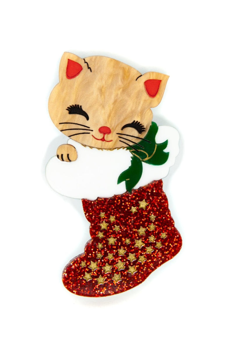 Joy the Christmas Kitten Brooch by Daisy Jean