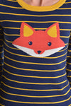 Fox Face Long Sleeve Navy Sweater