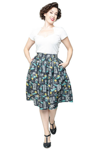 Tiki in Paradise Skirt in Black by Steady Clothing