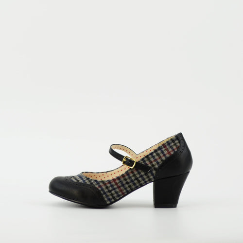 Black Houndstooth Mary Jane Regina Heels by B.A.I.T.