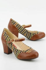 Brown Houndstooth Mary Jane Regina Heels by B.A.I.T.