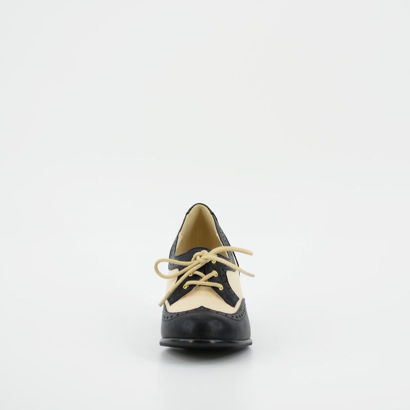 Remmy Black and Cream Two-Tone Heeled Oxfords by B.A.I.T.