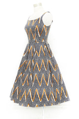 Navy and Copper Zig Zag Fifi Dress by Retrospec'd
