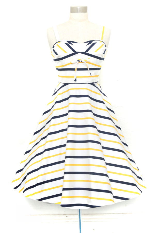 Shellie Dress in Navy & Yellow Stripe by Retrospec