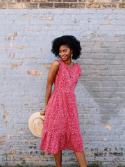 Ruffled Midi Dress in Red Daisy by Mata Traders