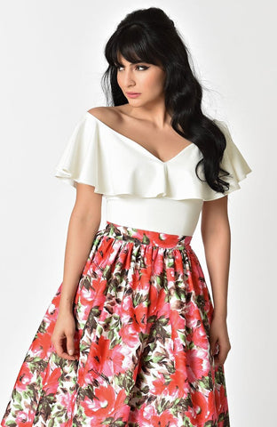 Frenchie Off Shoulder Ruffle Knit Top in Ivory