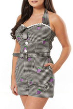 Savi Grape Embroidered Gingham Romper by Timeless London