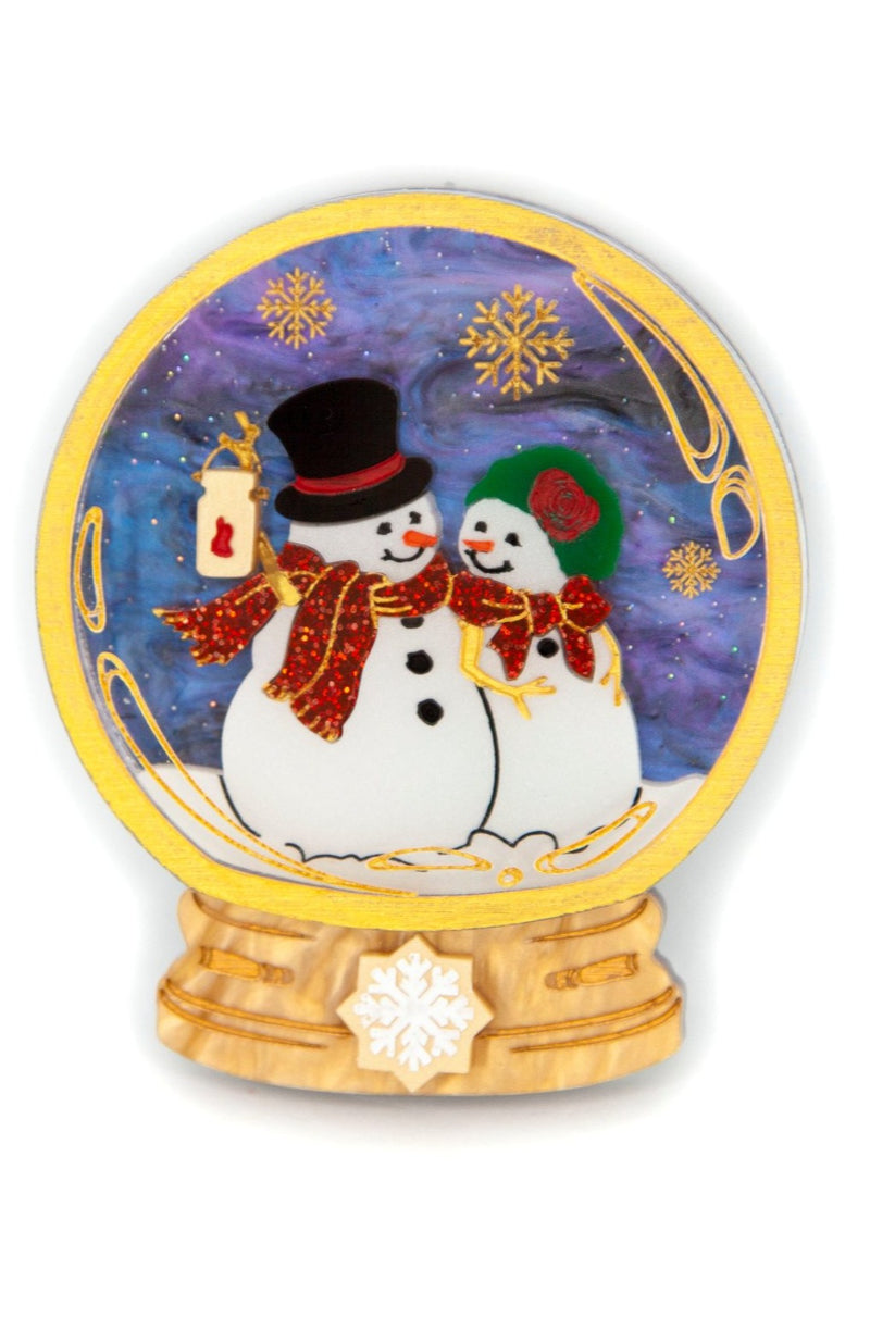 Snowmen at Sunset Snowglobe Brooch by Daisy Jean